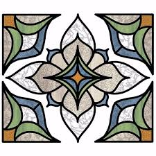 Nh2415 Blue Alden Stained Glass Window Decals By Inhome