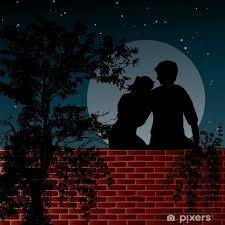 Night Scene With Two Lovers Sitting On The Wall Sticker Pixers We Live To Change