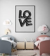 Black Letter Balloon Love Poster Wall Decor Unisex Kids Etsy