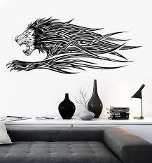Vinyl Decal Wall Running Lion Mane Fluttering Grin Strength Animal Decal Unique Gift N774 Vinyl Decals Vinyl Wall Decals Wall Graphics