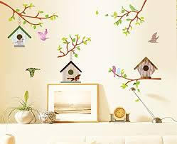 Amazon Com Ufengke Colorful Tree Vines Birdhouse And Flying Birds Wall Decals Living Room Bedroom Removable Wall Stickers Murals Home Kitchen
