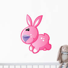 Pink Bunny With White Wall Decal Wallmonkeys Com