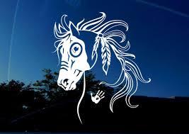 Amazon Com Horse Decal War Horse Equestrian I Love My Horse Native American Tribal Horse Bumper Sticker Decal Left X Large 7 6 X 8 6 Inch Car Truck Window Trailer Wall