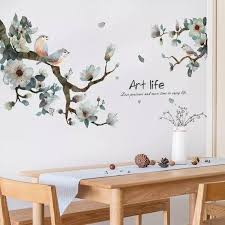 Sakura Plants Decal Tropical Green Decals Tree Branch Etsy Wall Decals Bird Wall Decals Vinyl Wall Stickers