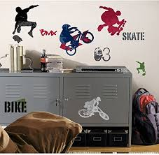 Amazon Com 25 New Extreme Sports Wall Decals Skateboarding Biking Stickers Boys Room Decor Kitchen Dining