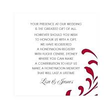 wedding invitation gift registry