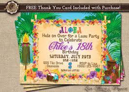 Hawaiian Party Invitation Luau Birthday Invitation Luau