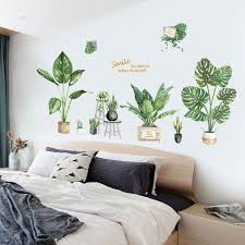 Potted Houseplants Wall Mural Removable Pvc Wall Decals For Living Room Nordicwallart Com