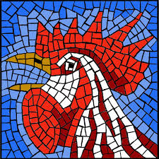 free mosaic pattern crowing rooster