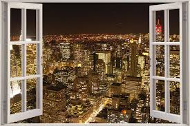 Huge 3d Window View New York City Wall Sticker Film Mural Art Decal 330 Ebay