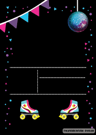 Free Printable Roller Skating Invitation Template Fiesta De