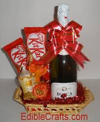 mini homemade wine and candy gift basket