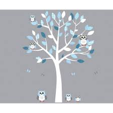 White And Blue Owl Stickers With Wall Decals Tree For Play Rooms