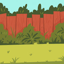 Premium Vector Backyard With Wooden Fence Garden Bushes And Tree Cartoon Illustration