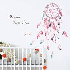 Amazon Com Decalmile Dream Catcher Feathers Wall Decals Quotes Dreams Come True Wall Stickers Girls Bedroom Living Room Wall Decor Finished Size 39 W X 42 H Kitchen Dining