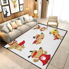 Amazon Com Dog Children Boys Girls Bedroom Rugs Superhero Puppy With Paw Costume And Mystic Powers Laser Vision Supreme Talents For Doorway Living Room Kitchen Bedroom Washable Red Cream White 4 5 X 5 2