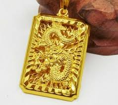 24k yellow gold dragon pendant with