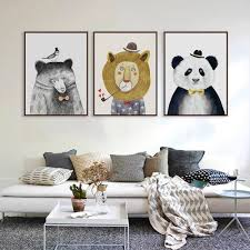 Watercolor Nordic Animal Lion Bear Panda Art Prints Poster Hipster Wall Picture Canvas Painting Kids Room Home Decor Unframed Painting Calligraphy Aliexpress