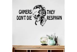 Vinyl Wall Decal Gamer Skull Headphones Quote Video Games Stickers Children S Room Wall Stickers Decorative Wish