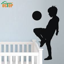 Boy Playing Soccer Silhouette Portrait Wall Sticker Football Kids Bedroom Poster Vinyl Removable Decor For Children Room Decals Kids Bedroom Bajby Com Is The Leading Kids Clothes Toddlers Clothes And