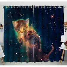 Zkgk Galaxy Outer Space Hipster Cat Window Curtain Drapery Panels Treatment For Living Room Bedroom Kids Rooms 52x84 Inches Two Panel Walmart Com Walmart Com