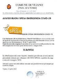 BUONI SPESA Covid19 - maggio 2020 - Comune di Vejano