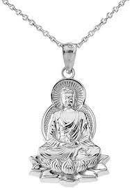 com fine 14k white gold buddha