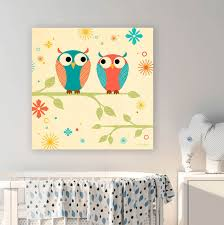 Coral And Blue Owls On A Branch Birds Canvas Wall Art Oopsy Daisy