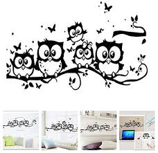 Amazon Com Amaonm Family Owls On The Tree Branches Wall Decal Removable Cartoon Black Vinyl Owl Wall Art Decor Stickers For Babys Children Rooms Bedroom Living Room Tv Background Home Kitchen