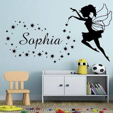 Fairy Custom Name Wall Decal Sticker Little Angel Stars Personalized Baby Name Stickers For Nursery Kids Room Bedroom Decoration Wall Stickers Aliexpress
