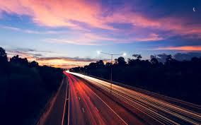 highway traffic lights long exposure