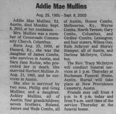 Addie May combs mullins obit - Newspapers.com