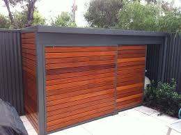 modern shed with sliding door pool