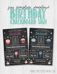 birthday chalkboard sign template and