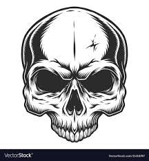 monochrome of skull royalty free vector