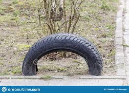 An Old Car Tire Is Used As A Fence Stock Photo Image Of Park Black 176644534