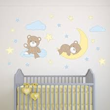 Teddy Bear Decal Boys Nursery Wall Stickers Stars Clouds And Moon Fabric Pattern Yellow Blue And Brown Baby Room Decor Toddler Gift In 2020 Teddy Bear Nursery Teddy Bear Nursery Theme