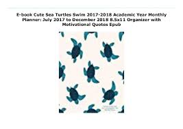 e book cute sea turtles swim academic year monthly planner