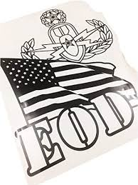 Amazon Com Master Eod Badge And Us Flag Vinyl Decal Black 10 Inches Tall Automotive