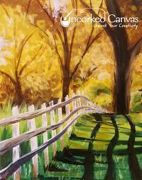 White Picket Fence Uncorked Canvas Autumn Painting Tree Painting Canvas Painting
