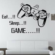 Wall Sticker 3d Eat Sleep Game Diy Gamer Quote Gaming Room Art Decal Home Decor Ebay