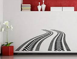 Tire Tracks Wall Decal Car Road With Traces Of Tire Garage Vinyl Sticker Home Nursery Kids Boy Girl Room Interior Art Decoration Any Room Mural Waterproof Vinyl Sticker 301xx Baby B016f8x6v0