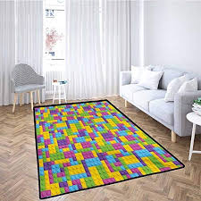 Kids Outdoor Patio Rug Colorful Plastic Construction Blocks Cube Geometric Childhood Game Illustration For Toddlers Stylish Pet Friendly Purple Blue Green 6x9 Feet Educational Toys Planet