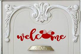 Amazon Com Welcome Minnie Red Walt Disney World Home Decal Door Decal Front Door Decal Sticker Welcome Sticker Home Decor Home Entry Family 5 7 X 18 8 Red Home Kitchen