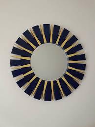 yellow sunburst round wall mirror