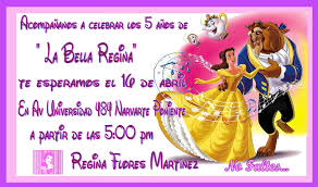 Invitaciones De Bella Y Bestia Imagui