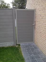 Composite Fencing Gate Post In Stone Grey Garden Fence Grey Fences Garden Fencing