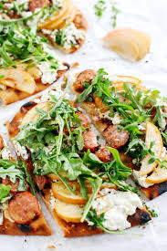 grilled sausage apple pizza with goat