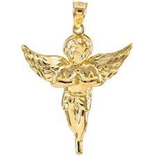 14k yellow gold angel pendant large