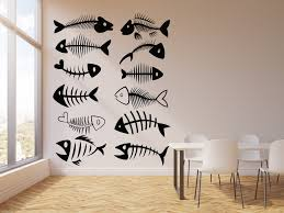Vinyl Wall Decal Fishing Restaurant Fish Bones Skull Seafood Stickers Wallstickers4you